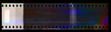 Nice Scan Of Long Empty 35mm Negative Filmstrip With Cool Scanning Light Interferences.