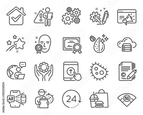 Science icons set. Included icon as Cogwheel, Certificate, Employee hand signs. 24 hours, Copywriting, Cloud server symbols. Swipe up, Dirty water, Augmented reality. Face verified. Vector