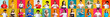 Portrait collage. Approval gesture. Mosaic row montage of cheerful grateful happy diverse multiethnic people group in colorful t-shirts showing admiration isolated on bright background.