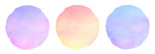 Gradient Round Watercolor Backgrounds, Text Frames Set. Circle Shape Isolated On White. Colorful Light Blue, Lilac, Pink Watercolour Stains Texture With Deckled Edge. Hand Drawn Painted Aquarelle Fill