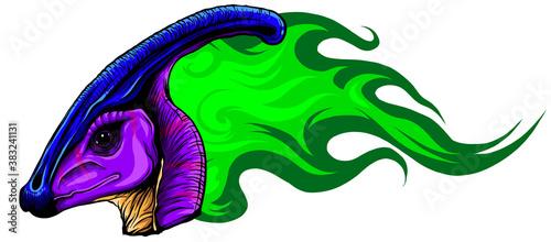 Obraz na plátne Vector Cartoon Dragon Head Isolated On White Background