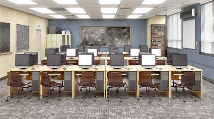 Modern classroom . High school. 3d illustration