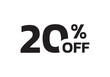 20 percent price off icon. Sale label or tag. Discount badge or sticker design element. Vector illustration.