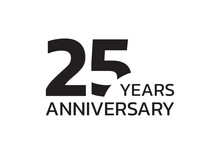 25th Anniversary Logo. 25 Years Celebrating Icon Or Badge. Vector Illustration.