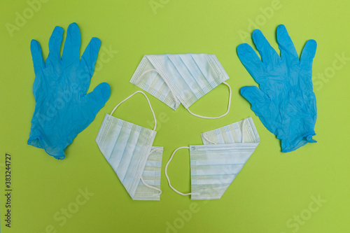 Photo Used disposable masks and gloves
