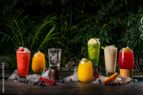Selection of best selling cocktails martini spritz mojito in bar blurred backgro Canvas Print