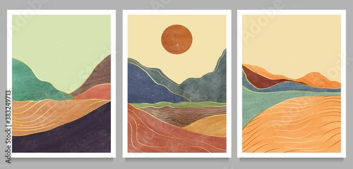 Obraz set of creative minimalist hand painted illustrations of Mid century modern. Natural abstract landscape background. mountain, forest, sea, sky, sun and river - fototapety do salonu