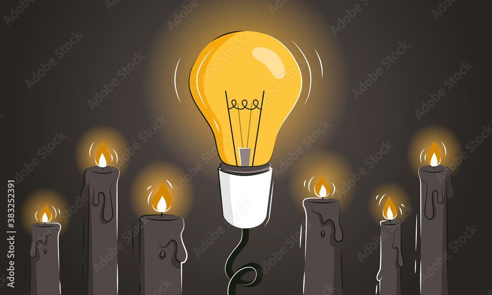 Fototapeta Game changer abstract vector illustration with the light bulb among candles as a concept of innovative ideas and new solutions. Thinking outside the box as a leadership strategy. Pioneer metaphor