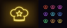 Neon Chef Hat, Glowing Icon. Neon Chef Cap With Star, Bakery Rating