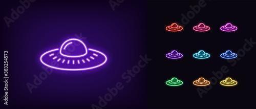 Neon alien UFO, glowing icon Fototapet