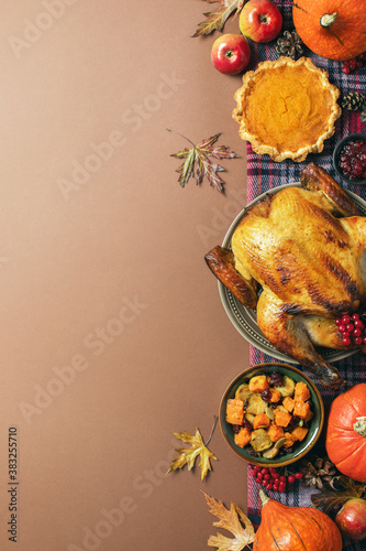 Thanksgiving charity dinner invitation template or mock-up with copy space Wallpaper Mural