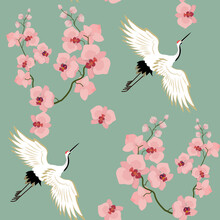 Seamless Vector Illustration With Birds Cranes And Orchids