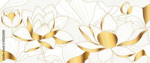 Luxury Golden lotus background vector. Gold Lotus line arts design for wallpaper, wall arts, fabric, prints and background texture, Vector illustration.
