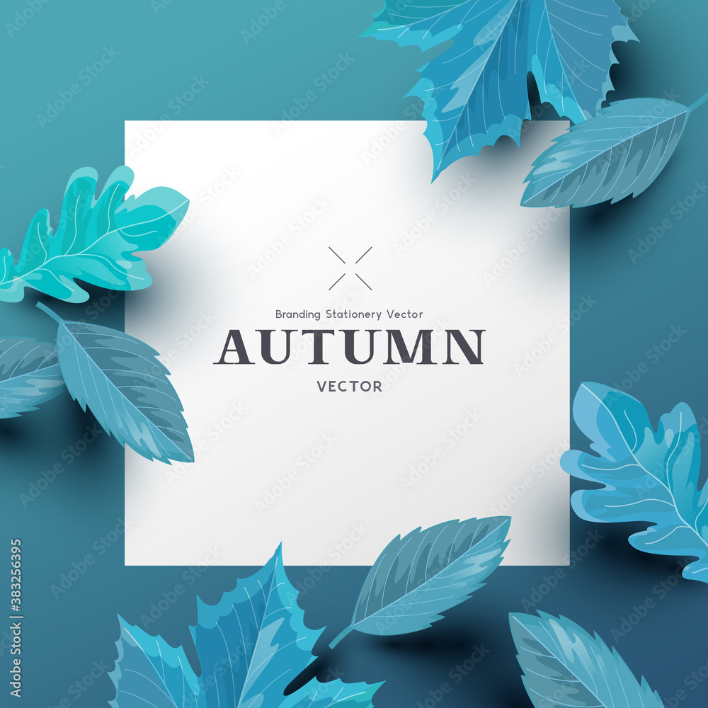 Autumn background layout composition with paper leaves and room for text. Vector leaf fashion illustration.