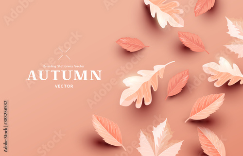 Autumn paper leaf background design layout. Fall Vector illustration