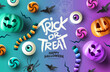 Happy Halloween Party Background Composition, colourful fall event layout with pumpkins and spooky treats. vector illustration.