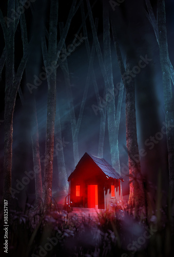 A creepy cabin in the woods, with a red light glowing through the door and windows set in a misty forest at night Fotobehang