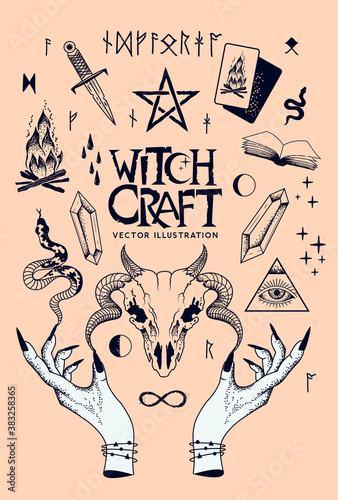 Witchcraft traditional objects of the occult including snakes, casting spells, ram skull, tarot cards and crystals. Vector illustration.