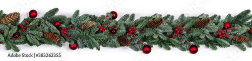 Fotografie, Obraz Christmas fir and decorations on white