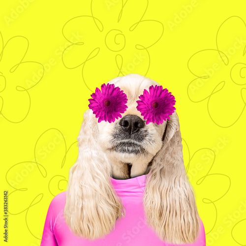 In love. Modern design. Contemporary art collage with cute dog and trendy colored background with geometric styled elements. Inspirative art, pets, animal, style and fashion concept. Copyspace.