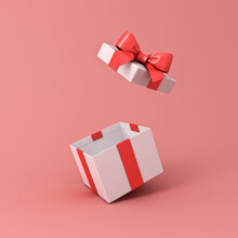Blank Open White Gift Box Or Present Box With Red Ribbon Bow Isolated On Light Red Pink Orange Pastel Color Background With Shadow 3D Rendering