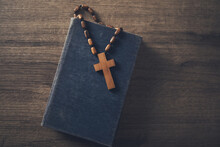 Wooden Cross On The Bible