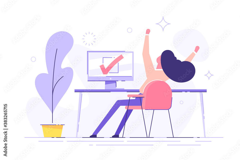 Fototapeta Happy woman completed task and triumphing with raised hands on the his workplace.  Successful well done work. Completed task. modern vector illustration.