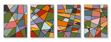 Vector Set Of Abstract Covers. Modern Geometric Pattern In The Form Of Triangles Of Various Colors. Vector Illustration