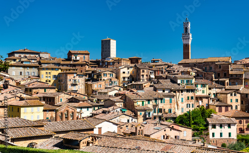 Naklejka premium Aerial view of Siena. UNESCO world heritage in Tuscany, Italy
