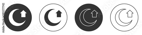 Obraz Black Moon icon isolated on white background. Circle button. Vector. - fototapety do salonu
