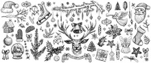 Christmas Decorations, Hand Drawn Vector Elements. Rustic Winter Sketches.