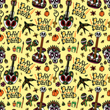 Day Of The Dead. Seamless Pattern With Sugar Skulls, Maracas, Swallow, Guitar, Flowers And Candles For Mexican Holiday Dia De Los Muertos. Vector Illustration On Orange Pastel Background