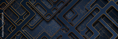 Dark blue papercut grid and golden shiny glitter dots abstract background. Geometric vector banner design