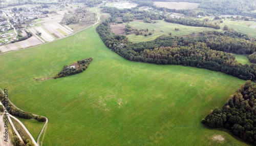 Top view of green rustic fields