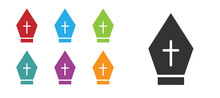 Black Pope Hat Icon Isolated O...