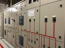 Electrical Switch Control Cabinet, Electrical Switchboard In Industrial Plants Or Power Plants