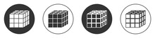 Black Rubik Cube Icon Isolated On White Background. Mechanical Puzzle Toy. Rubik's Cube 3d Combination Puzzle. Circle Button. Vector.