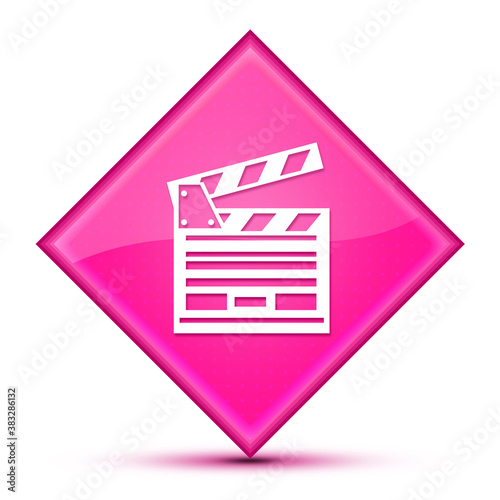 Fotomural Cinema icon isolated on luxurious wavy pink diamond button abstract
