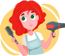 Redhead Girl Hairdresser Holds A Hairdryer And A Comb. Cartoon Character For The Avatar. Female Hairdresser On A White Background. Vector Illustration For Website