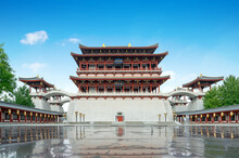 "The Ziyun Tower Was Built In 727 AD And Is The Main Building Of The Datang Furong Garden, Xi'an, China.Translation:""Datang Furong Garden"""
