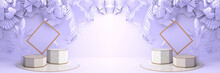 Octagonal Marble Podium, Golden Frames, And Background The Violet  Leaves And Violet Palm Overlap To Form Art Dimensions. Pedestal Can Be Used For Advertising, On Violet Background, 3D Rendering.