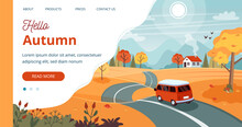 Autumn Trip Template. Illustra...