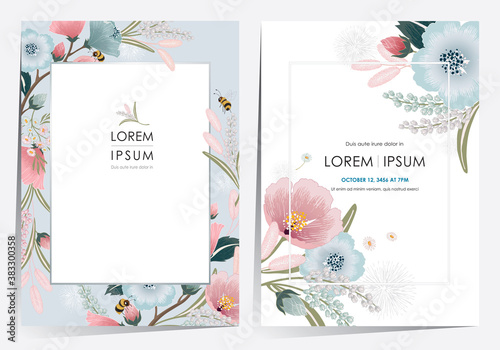 Fotografija Vector illustration of a beautiful floral frame set for Wedding, anniversary, birthday and party