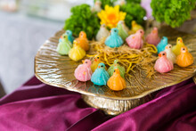 Bird Shape Thai Dumplings On Golden Tray, Traditional Thai Style Snack In Colorful Bird Shap