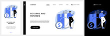 Returns And Refunds Website UI Kit. Shopping Help, Online Purchase Information, Return Goods, Website Menu Bar, Package, Canceled Order, Bank Transfer Landing And Mobile App Vector UI Template.