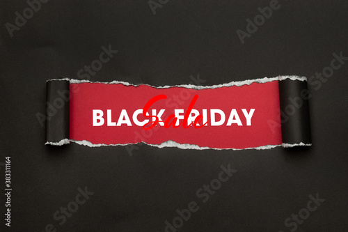 Valokuvatapetti Black torn paper and the text black friday sale marketing campaign