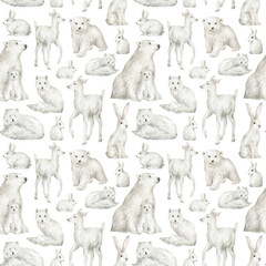 Watercolor seamless pattern with white winter animals. Bear, deer, rabbit, arctic fox. Winter wildlife. Cute wild mammals. Background with woodland animal for textile, wrapping, covers, decoration
