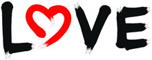 """Hand Dawn Word """"love"""" As A Black And Red Vector Graphic. Brush Or Airbrush Font With Heart Illustration."""