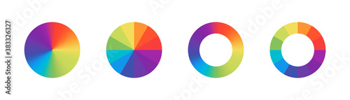 Fototapeta Color wheels. Vector isolated elements.Wheel colour spectrum. Circle palette. Multicolored circle flat template.  Stock vector. obraz