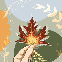 Hand Holding Autumn Bright Leaf With Shadow And Abstract Flame On Abstract Floral Ornament Background. Digital Hand Drawn Colorful Autumn Illustration. Good For Thanksgiving Decoration, Card, Print.